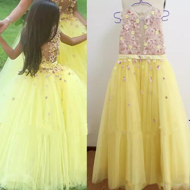 Real Picture Little Flower Girls Dresses 2017 Lace Appliques Sheer Bodice Yellow Tulle Floor Length Little Girls Pageant ip camera wireless wifi 960p hd surveillance infrared waterproof weatherproof security system cctv system outdoor baby moniter