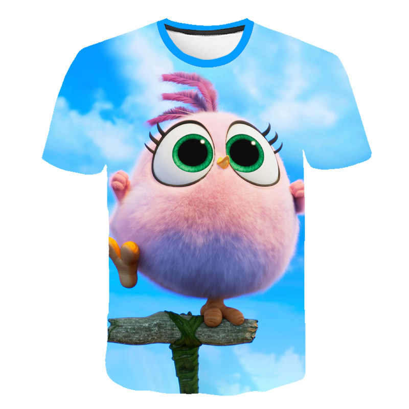 2019 г., Новое поступление, летняя футболка с 3D-принтом «Angry Birds», 2 футболки с короткими рукавами для мальчиков и девочек с изображением Angry Birds 100-160