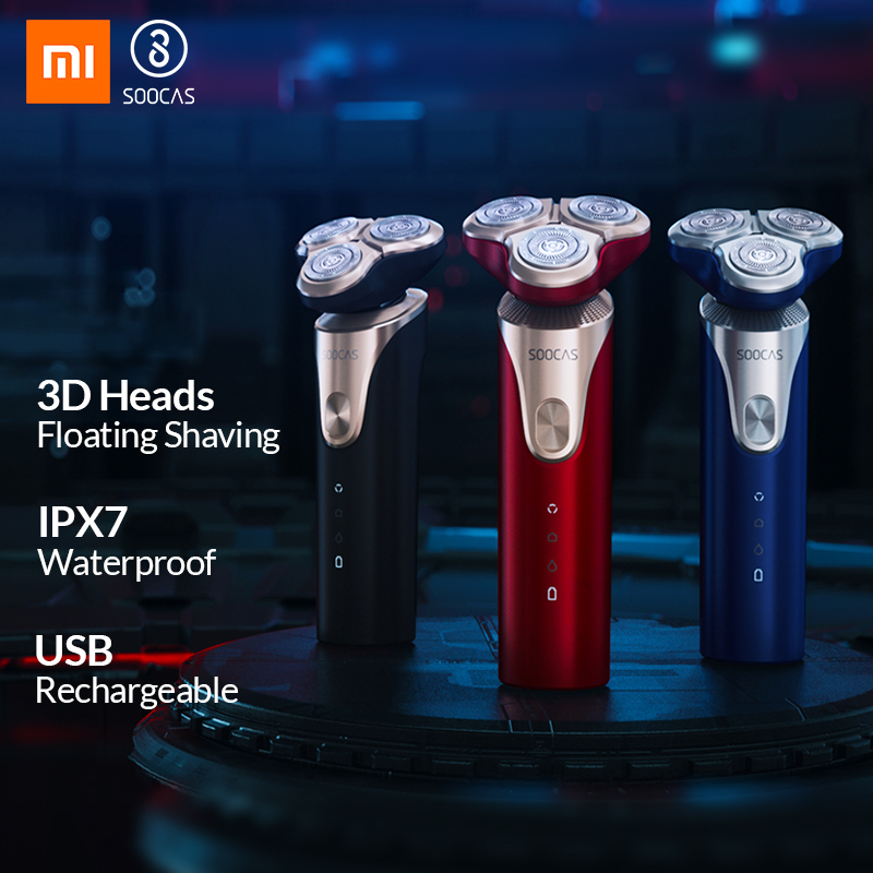 Xiaomi SOOCAS S3 Electric Shaver For Men 3 Cutter Head Dry Wet Shaving Wireless USB Rechargeable