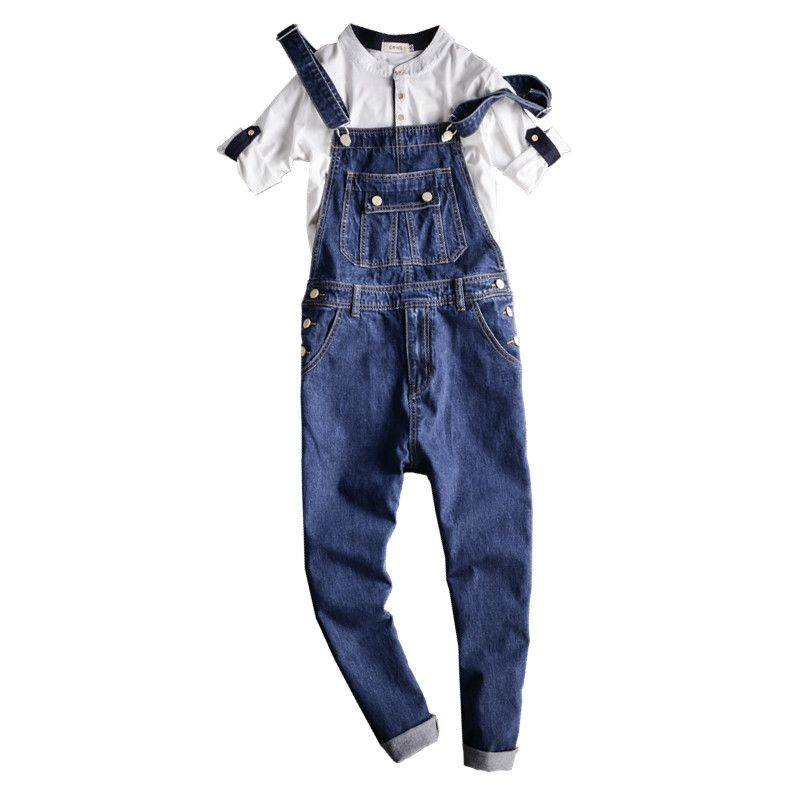 Fashion Male Overalls Jeans Pants Casual Distressed Jeans Denim Jumpsuits Hip-Hop Men's Slim Fit Blue Bib Overalls Jeans 092701 denim overalls male suspenders front pockets men s ripped jeans casual hole blue bib jeans boyfriend jeans jumpsuit or04