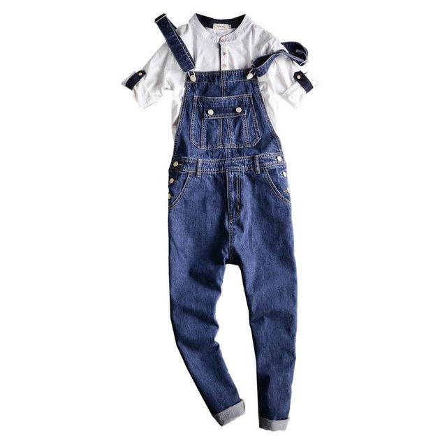 798d282e5443 Fashion Male Overalls Jeans Pants Casual Distressed Jeans Denim Jumpsuits  Hip-Hop Men s Slim Fit Blue Bib Overalls Jeans 092701