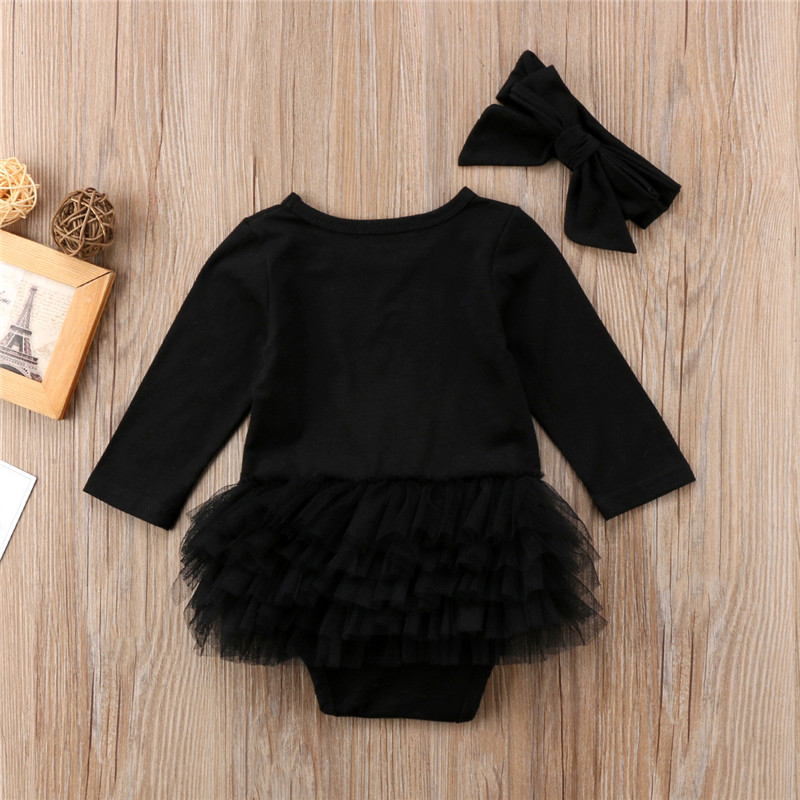 b486107bf2b Newborn Baby Girls Summer Black Romper Jumpsuit Mesh Pleated Cute Rompers  Clothes Headband Outfits For Girls .