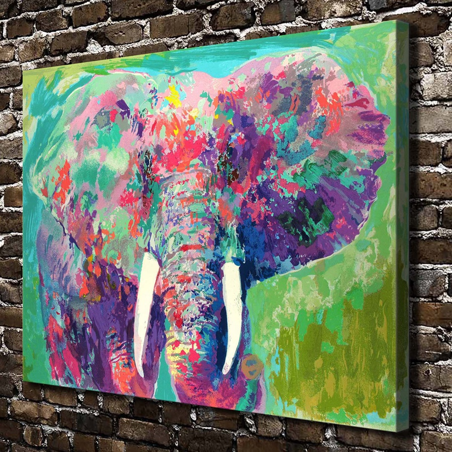 A1861 Leroy Neiman Colorful Abstract Elephant Animal Hd