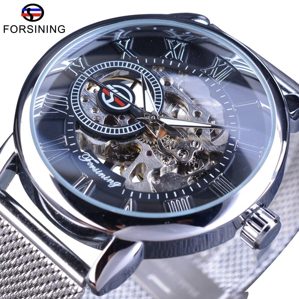 все цены на Forsining Hand Winding Mechanical Watch Fashion Skeleton Design Silver Stainless Steel Band Casual Wrist Watch Luminous Hands онлайн