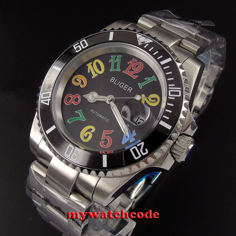 40mm Bliger black dial colorized marks ceramic window date automatic mens watch цена и фото