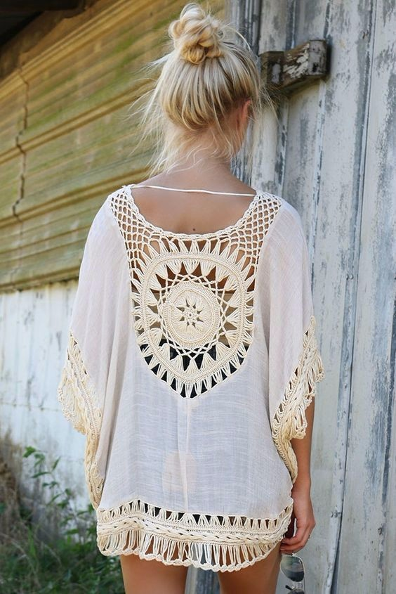 Quality Crochet Bikini Cover-ups Hollow Out Women Handmade Beachwear Bohemia Robe Cover up One-piece Flax Vacation Smock 11
