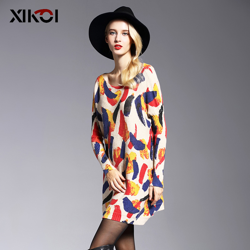 XIKOI Oversize Long Women Sweater Casual Coat Batwing Sleeve Print Women's Sweaters Kläder Pullovers Fashion Pullover Kläder