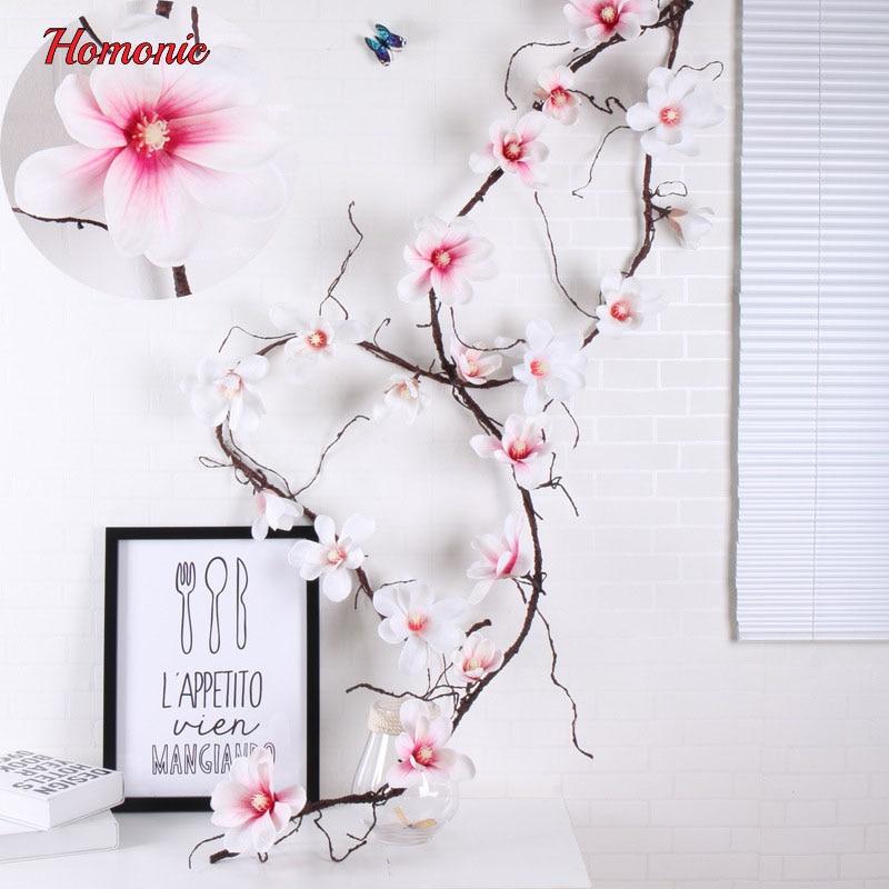 Kunstlill Magnolia Silk Fake Lilled Branch boutonniere Flores pulmade - Pühad ja peod - Foto 1
