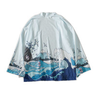 2019 summer japanese crane printed kimono cardigan jackets mens japan style sleeve casual streetwear coats outwear
