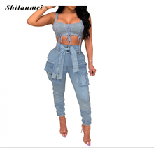 Summer Plus Size Denim pants Women jeans Bandage skning denim Pants Long Denim Pocket Trousers стоимость