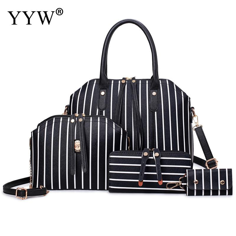 4 PCS/Set Striped PU Leather Handbags Women Bag Set Famous Brands Tote Bag Lady's Shoulder Crossbody Bags Casual Womens'Pouch
