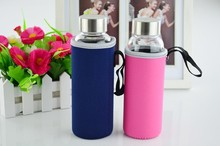1PC Hot Selling Glass Sport Water Bottle With Protective Bag 280ml 360ml 420ml 550ml Fruit Outdoor Bike Bottles KD 1464