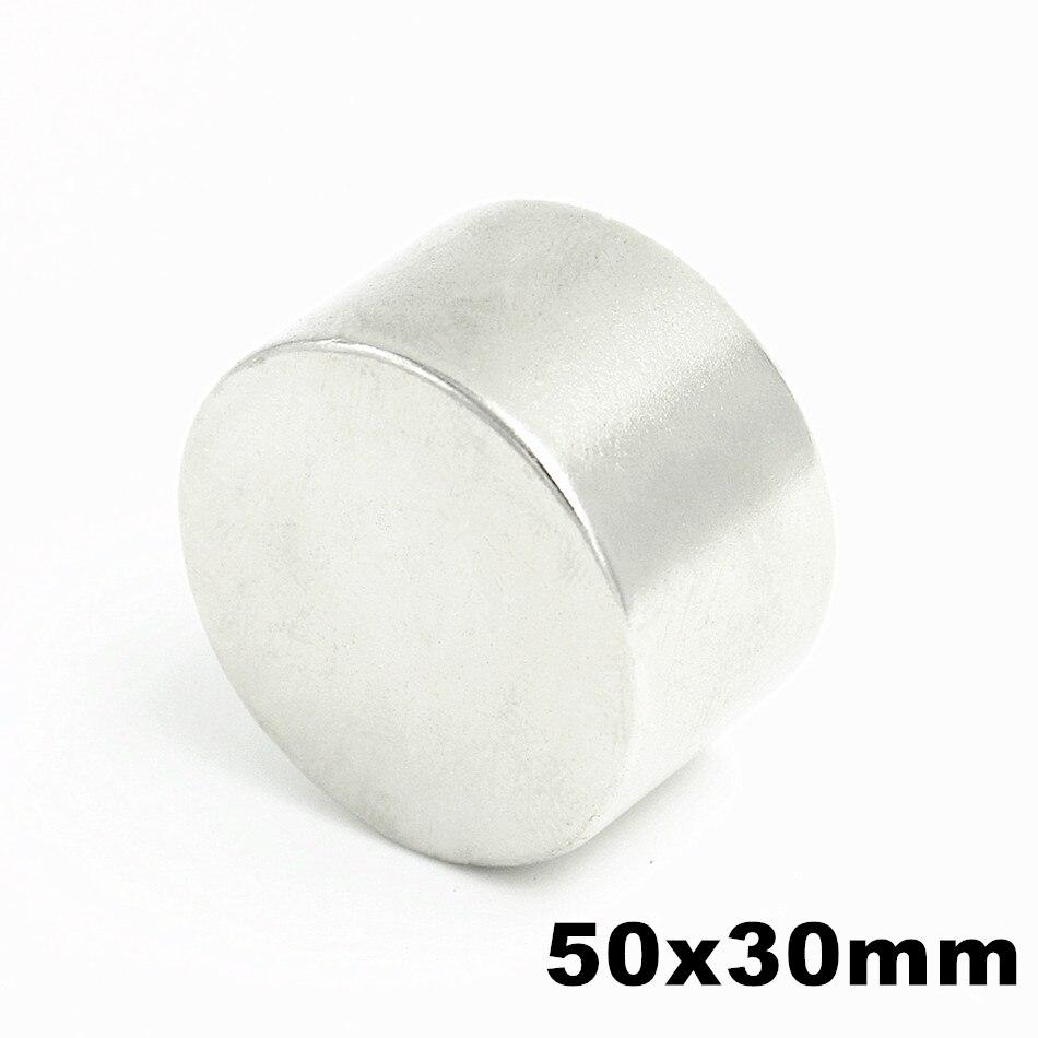 1 piezas N52 50mm x 30mm Super redondo NdFeB imanes del disco del neodimio Rare imán de NdFeB tierra