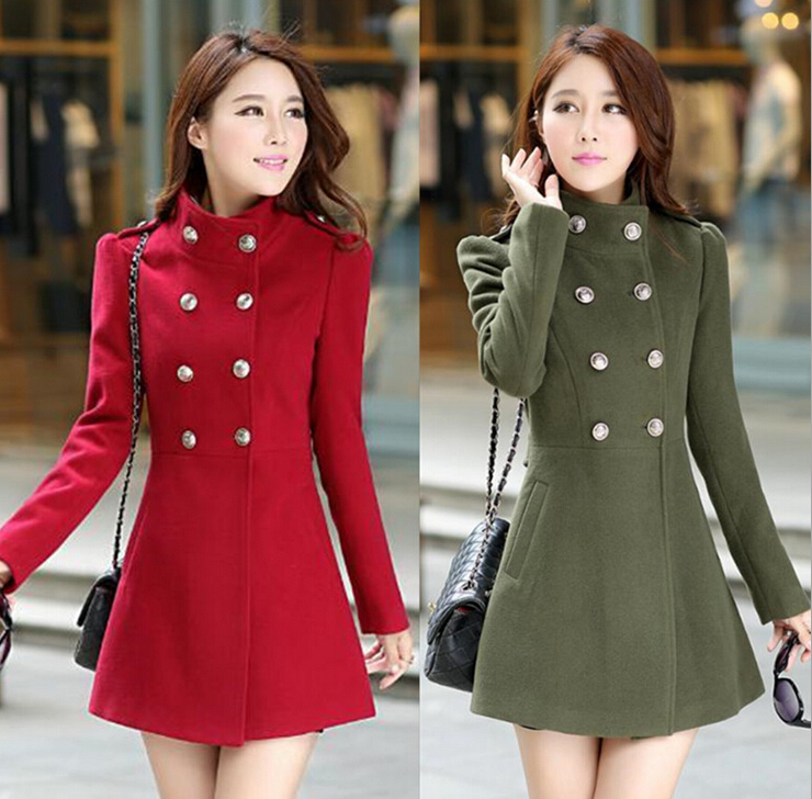 High quality winter coat women warm wine red army green blue wool ...