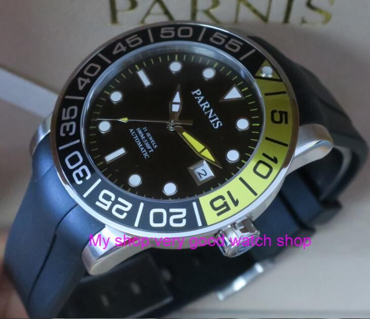 42MM <font><b>PARNIS</b></font> 21 jewels Japanese 821A automatic Self-Wind Mechanical watches Sapphire Crystal <font><b>10Bar</b></font> luminous men's watch 46sy image