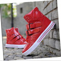 2017 Hot Sale Men PU High-top Casual Shoes Fashion Red Black White Men's Hip Hop Street Personalized Flats Shoes