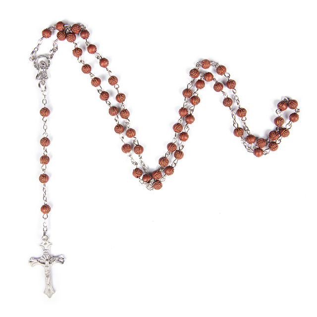 Plastic flower rose bead rope rosarydark brown rosary beads plastic flower rose bead rope rosarydark brown rosary beads orthodox cross wood pendant necklace aloadofball Image collections