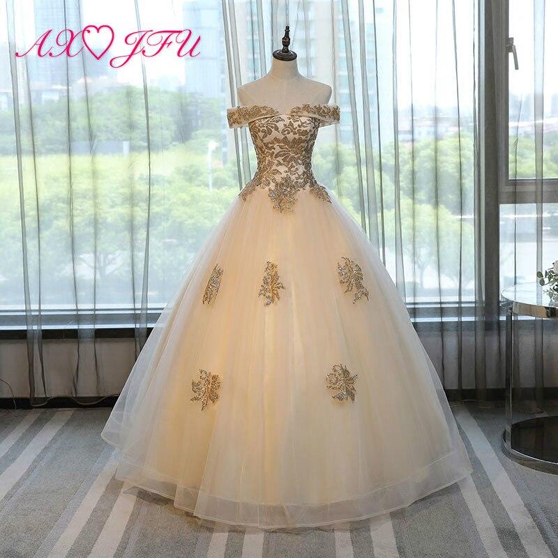 AXJFU представление шампанского кружева вечернее платье solo цвет цветок вечернее платье Сверкающее принцесса вечернее платье NY498