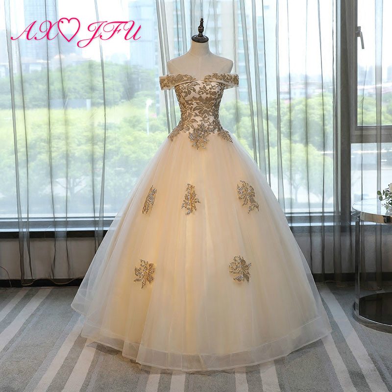 AXJFU performance champagne lace   evening     dress   solo color flower   evening     dress   shinning princess   evening     dress   NY498