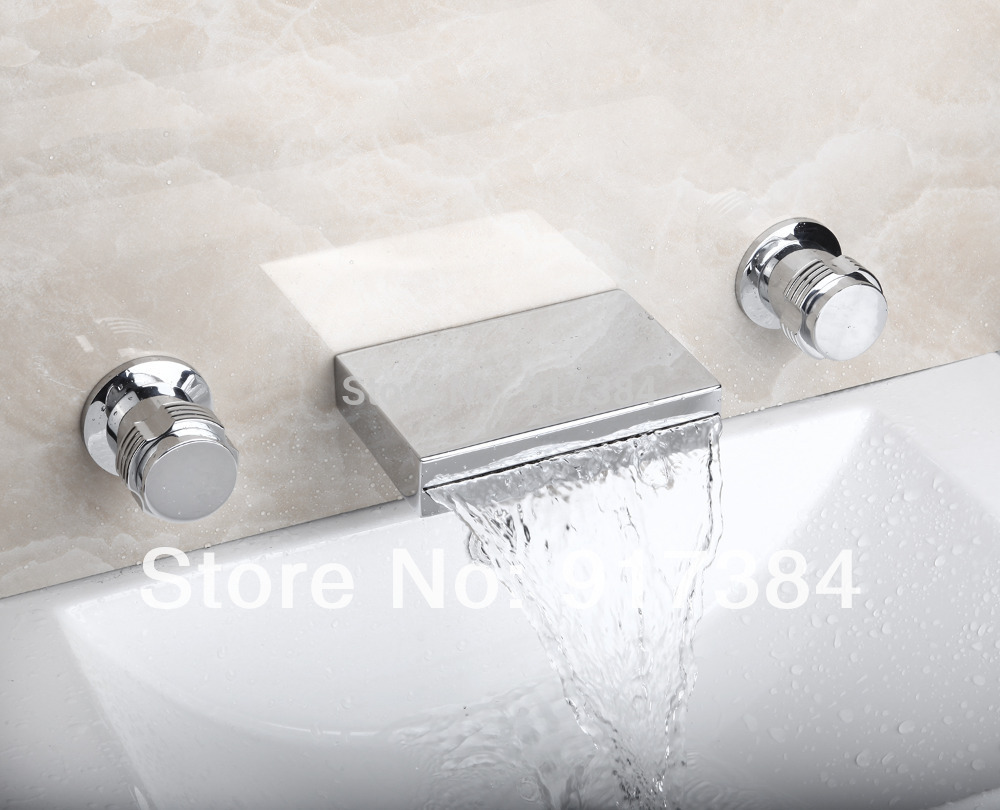 Fanshion Waterfall  Ceramic  Double Handles Deck Mounted Bathroom Bathtub Basin Sink Mixer Tap 3 pcs Chrome Faucet Set FG-3124 free shipping polished chrome finish new wall mounted waterfall bathroom bathtub handheld shower tap mixer faucet yt 5333