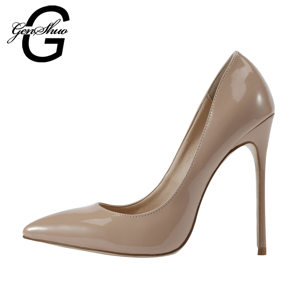 GENSHUO New Fashion Superstar Brand Party Apricot Shallow Pointed Toe High Heels Slip On Women Pumps Office Lady Shoes Big Size  krazing pot new fashion brand shoes square toe shallow women pumps metal strange high heels slip on causal office lady shoe 02