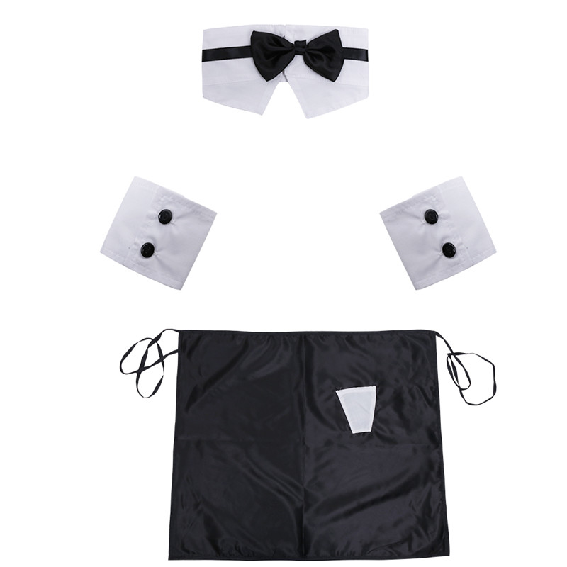 Lingerie Sets Sets Of 4 Brand Mens Sexy Underwear Hot Erotic Men Lingerie Apron With Bow Tie Collar Cuffs Cosplay Novelty & Special Use