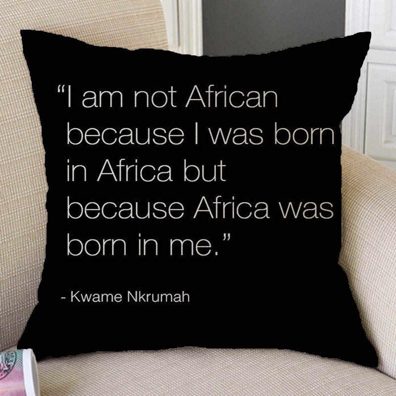 Африканские цитаты я люблю Африку Письмо печати стихотворение домашний декоративный диван бросок наволочка Африка Карта хлопок лен Подушка комбинезон