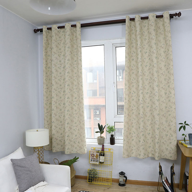 Modern Kırsal Küçük Çiçek Baskılı karartma perdesi Için Oturma Odası Yatak Odası Pencere Tedavi Perdeler Katı Ev Dekorasyon