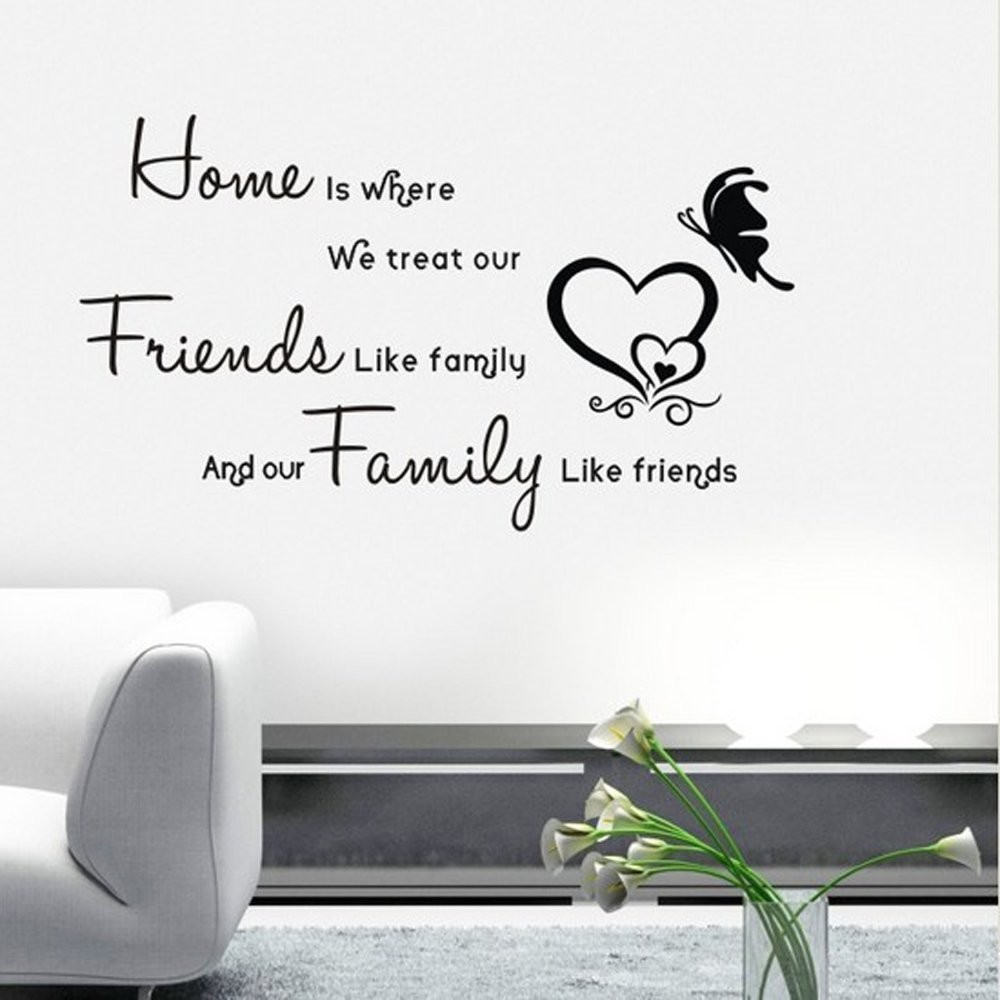 Cm Home Treat Friends Like Family Quote Art Vinyl Wall - Custom vinyl wall decals falling off
