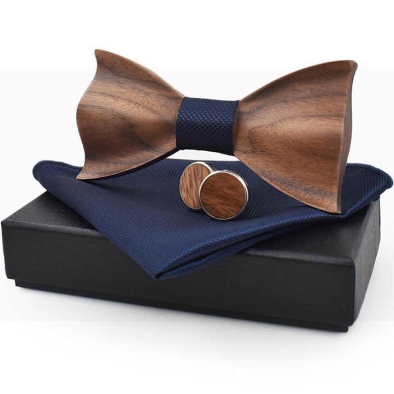 RBOCOTT Handmade Wooden Bow Tie Handkerchief Cufflinks Set Men's 3D Bow Tie Wood Pocket Square With Box Fashion For Men Wedding