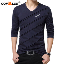 Covrlge 2018 Spring T Shirt Men Casual T-shirt Fashion V-neck Long Sleeve Tshirt Homme Camiseta Jersey Top Brand Clothing MTL068