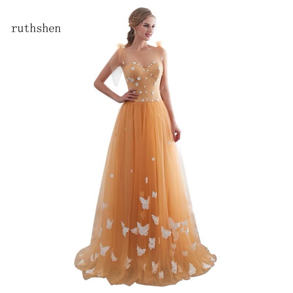 ruthshen 2018 Latest In Stock Prom Dresses A Line Sleeveless Long ...