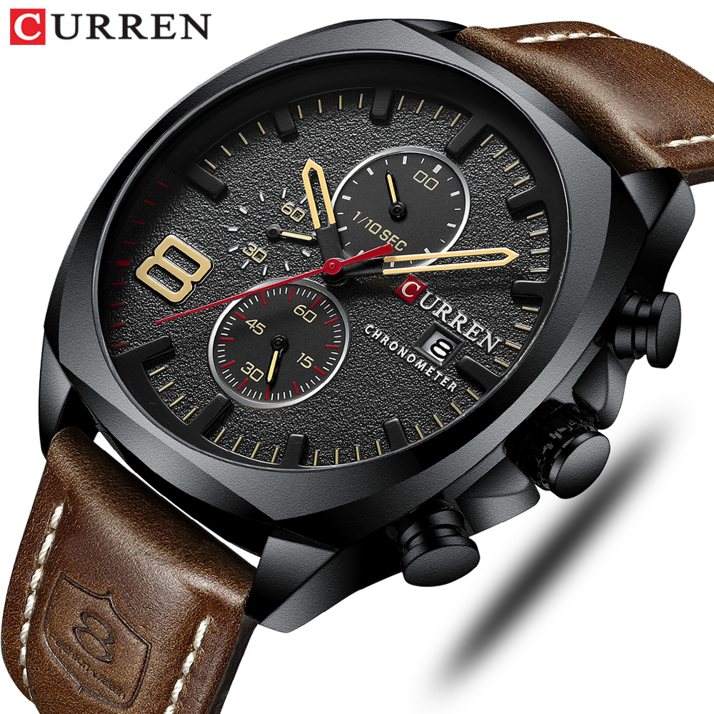 CURREN Quartz Watches Date Men Clock Multifunction Military Analog Waterproof Men's Fashion