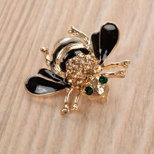 Bumblebee Shaped Brooch with Crystal Eyes