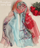 2015 womens fall fashion Pink 100% pure silk brand scarf impression wind warm winter shawls and scarves amazing lady style hijab