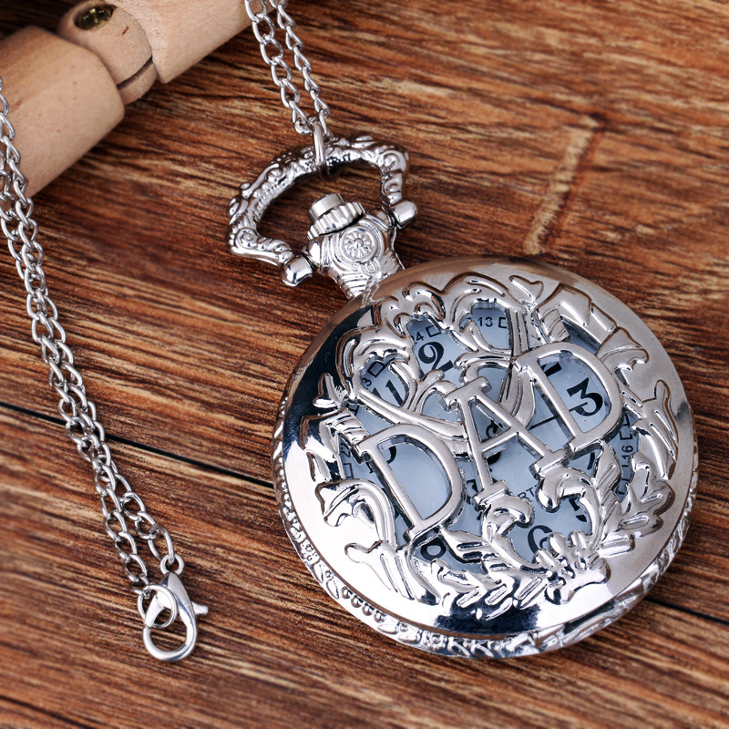 Pocket & Fob Watch Silver DAD Quartz Pocket Watch Necklace Pendant for Father's Day Gift