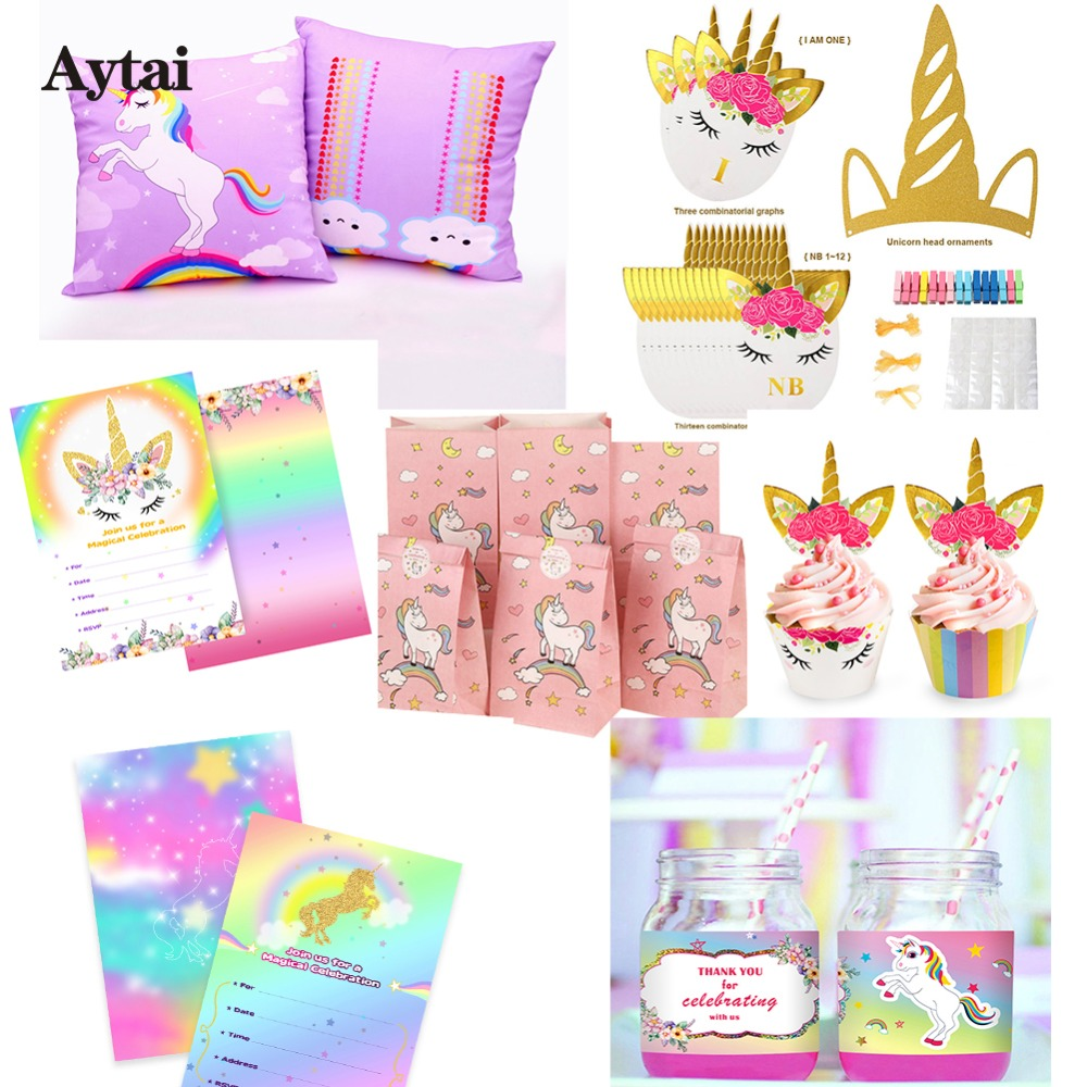 Aytai verjaardagsfeestje decoraties kids unicorn banner for Decoratie nep snoep