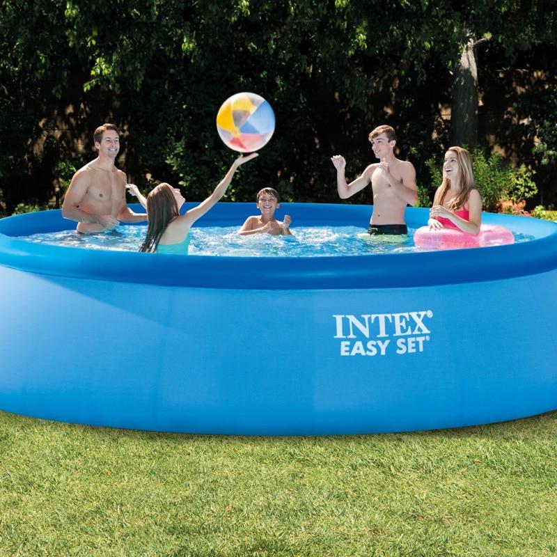 INTEX 15 Feet 457*122cm Above Ground Pool Piscina Easy Set Pool  Summer Play Swimming Family Pool Ladder Filter Pump Set