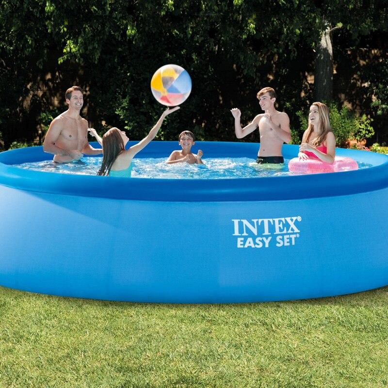 INTEX 28166 15 футов 457*107 см выше земли бассейн piscina легко установить летний бассейн играть одежда заплыва семья лестница для бассейна фильтр насо...