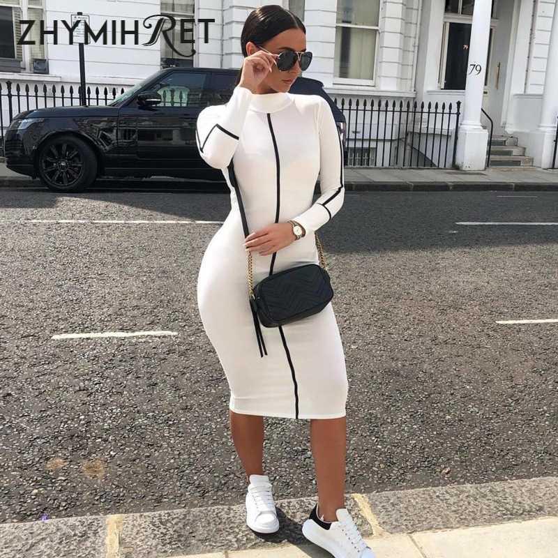 ZHYMIHRET/Новинка 2019 года; платье с длинными рукавами и панелями; женское облегающее платье миди; vestidos mujer; сексуальное платье-карандаш контрастного цвета; Kleider Damen