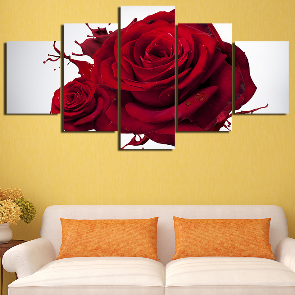 5 Panels Red Roses HD Oil Printed Painting Flower Painting Bedroom ...