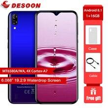 Blackview a60 smartphone 4080mah bateria 19.2:9 6.088 polegada 1gb ram 16gb rom telefone móvel 13mp + 5mp câmera