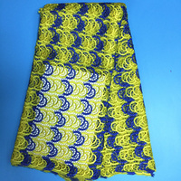 Free Shipping 5yards Pc Latest African Big Cord Lace Fabric Yellow And Blue With Silver Threads