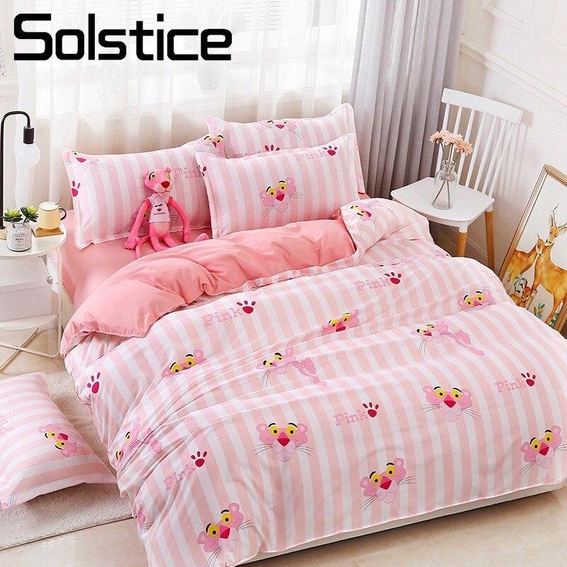 Solstício casa têxtil capa de edredão folha travesseiro caso menina criança adolescente conjunto cama rosa listra pantera roupa rei rainha único