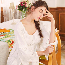 European Style Women Long Sleeve Nightgown SleepingLadies Nightshirt Nightdress Palace Princess Home Dress