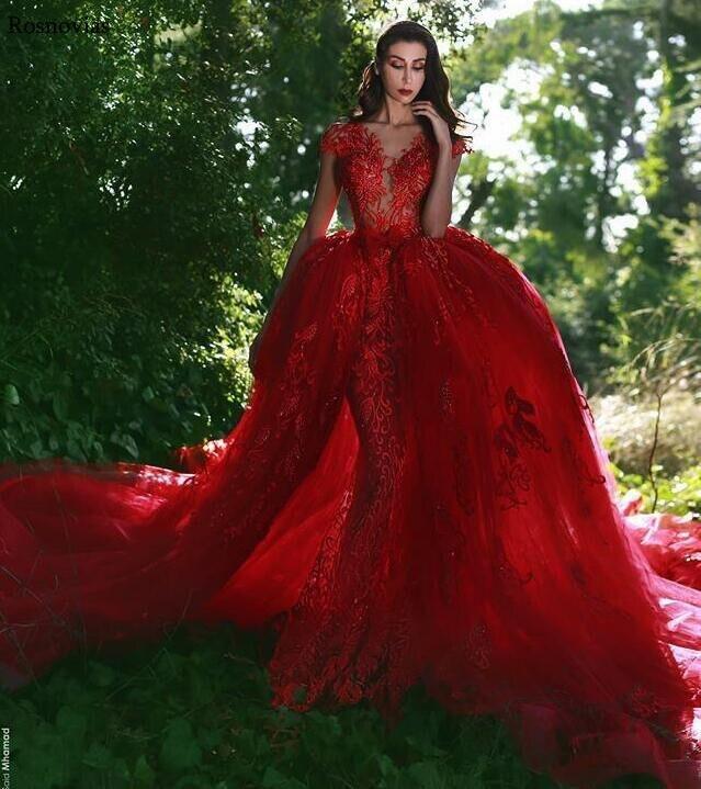 Red Mermaid Wedding Dresses 2019 Illusion Body V Neck Overskirts