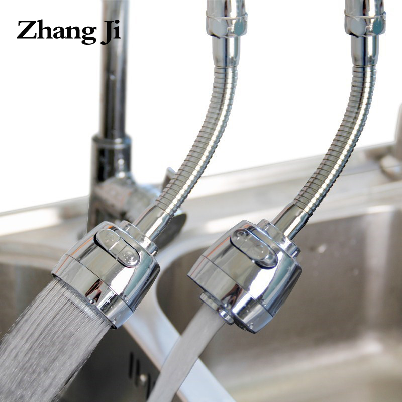 ZhangJi Kitchen 2-Mode 360 Degree Faucet Aerator Diffuser Rotating Flexible Faucet Extender Bubbler Shower Water Saving Nozzle