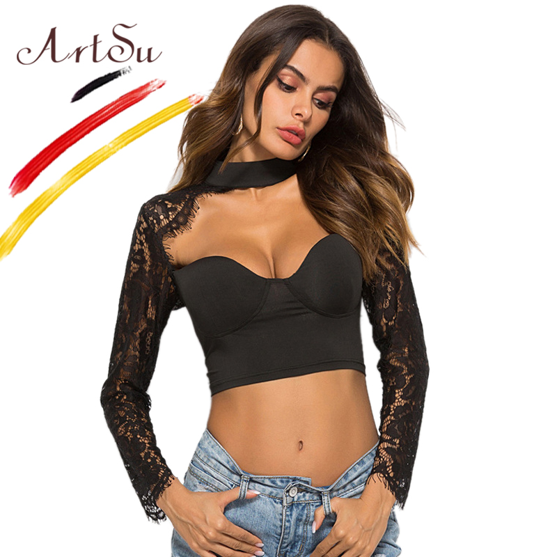 T-shirts Artsu Sexy Hollow Out White Lace Tops Women Long Sleeve Bralette Turtleneck Cropped Tees Black T-shirt 2018 Female Autumn Shirt