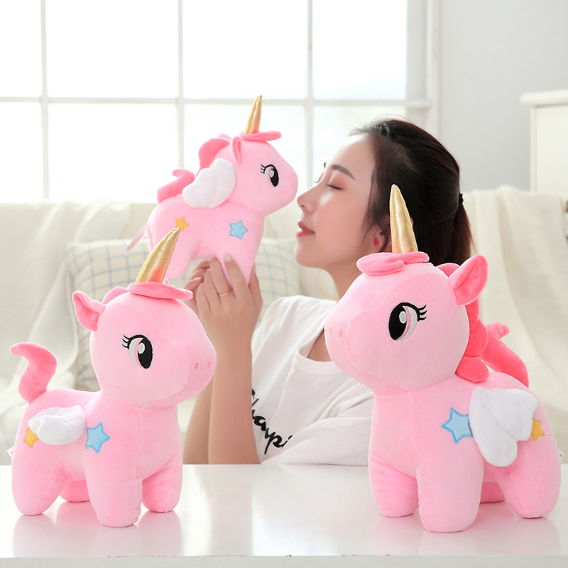 Toys & Hobbies Stuffed & Plush Animals Standing Unicorn Plush Toy Rainbow Angel Wings Stuffed Unicorns Pink Blue Yellow Fantasy Eyes Closed Sleeping Unicorn Plushie