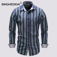 Новая мода Повседневное Для мужчин рубашка с длинным рукавом и стоячим воротником рубашка узкого кроя Для Мужчин полосы Бизнес мужская оде